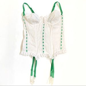Frederick's green white eyelet corset lingerie